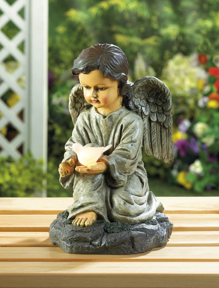 Image 0 of Kneeling Angel Holding Solar LED Light White Dove Garden Figurine Statue