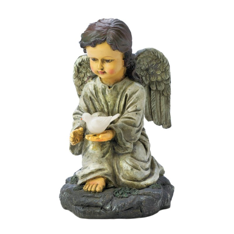 Image 1 of Kneeling Angel Holding Solar LED Light White Dove Garden Figurine Statue
