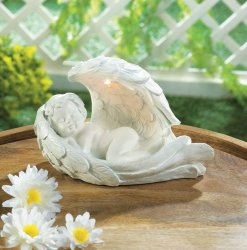 Peaceful Sleeping Cherub with Solar LED Light Wing Garden Figurine Statue