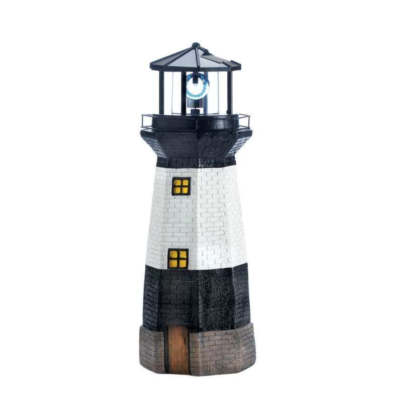 Image 1 of Black & White Lighthouse Garden Statue with Rotating Solar LED Light
