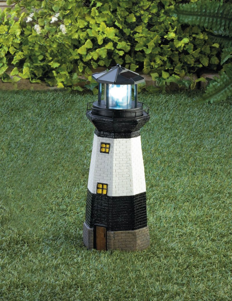 Image 0 of Black & White Lighthouse Garden Statue with Rotating Solar LED Light