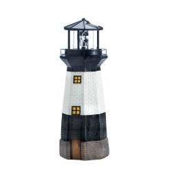 Black & White Lighthouse Garden Statue with Rotating Solar LED Light