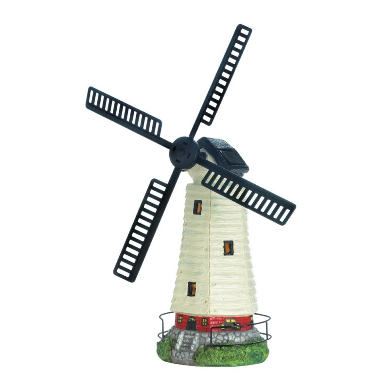 Image 1 of Black & White Solar LED Light Windmill Lighthouse Garden Statue