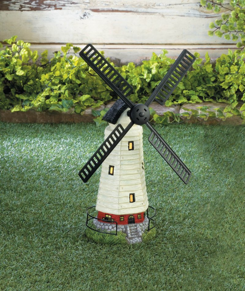Image 0 of Black & White Solar LED Light Windmill Lighthouse Garden Statue
