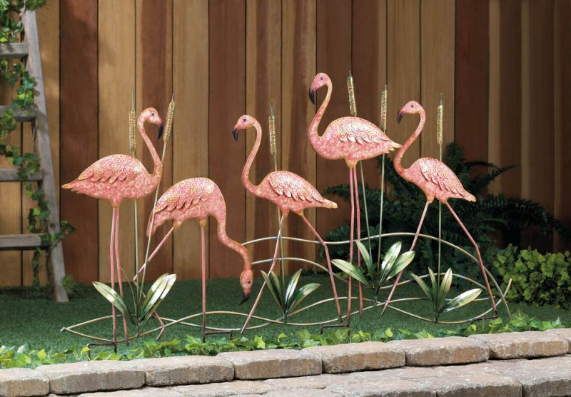 Image 0 of Flock of 5 Pink Iron Flamingos with Cattails Garden Stake Statue
