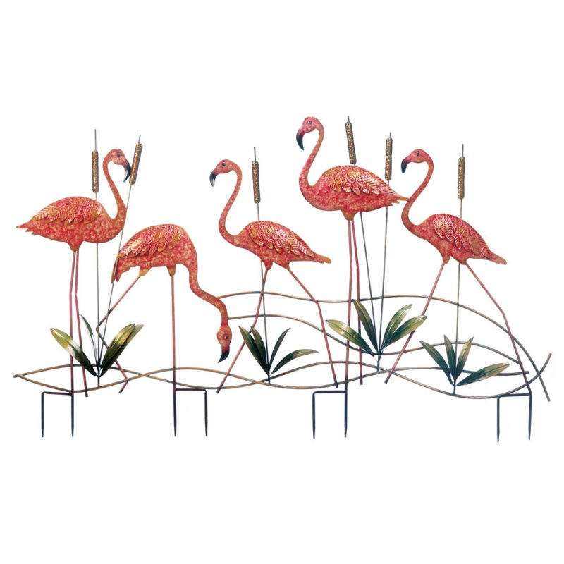 Image 1 of Flock of 5 Pink Iron Flamingos with Cattails Garden Stake Statue