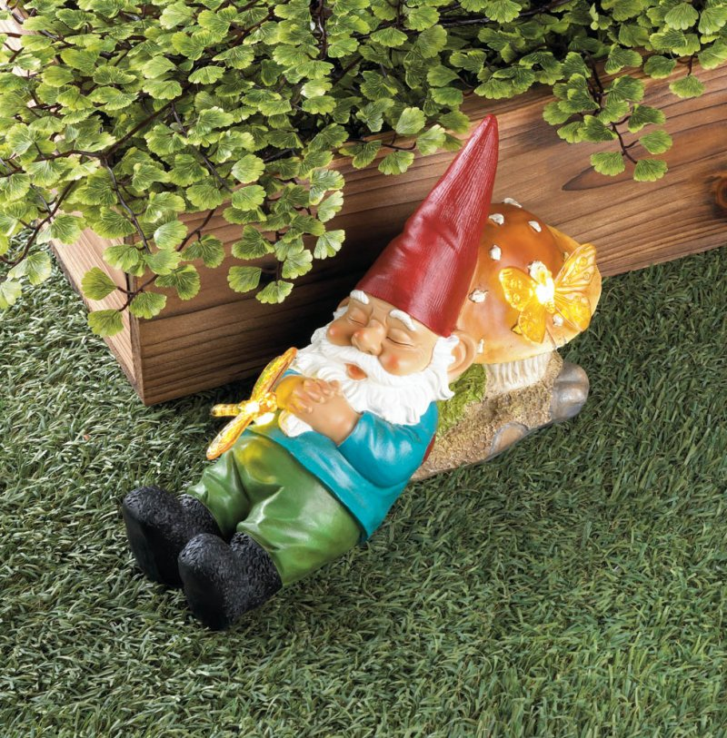 Image 1 of Sleepy Garden Gnome on Mushroom with Solar Butterflies Perfect for Lawn, Patio