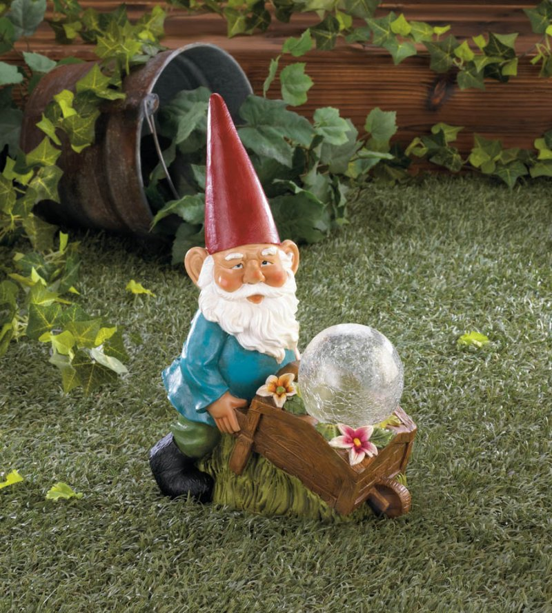 Image 0 of Garden Gnome with a Wheel Barrow Full of Flowers and a Solar Glass Ball Figurine