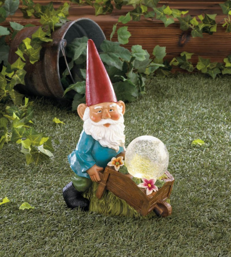 Image 1 of Garden Gnome with a Wheel Barrow Full of Flowers and a Solar Glass Ball Figurine