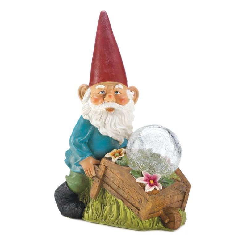 Image 2 of Garden Gnome with a Wheel Barrow Full of Flowers and a Solar Glass Ball Figurine