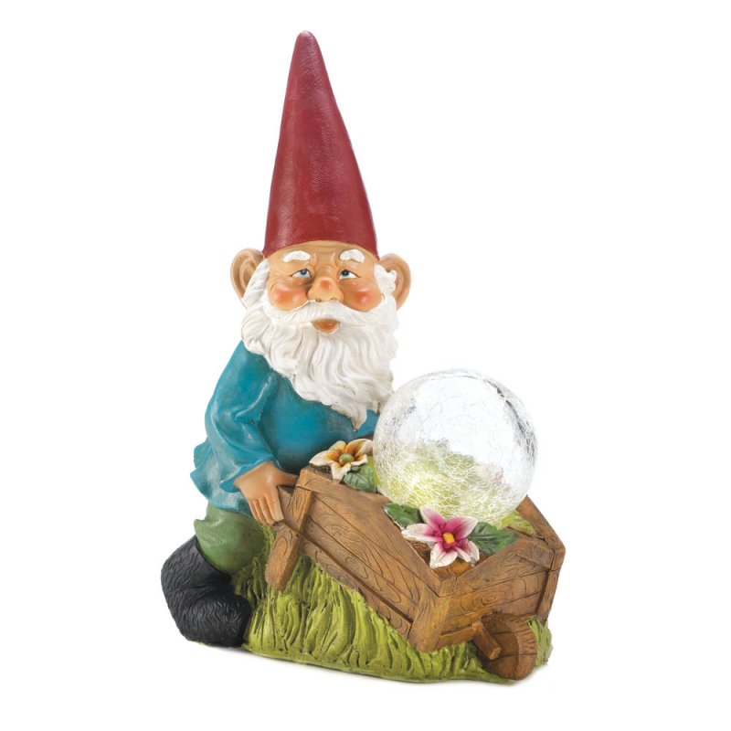 Image 3 of Garden Gnome with a Wheel Barrow Full of Flowers and a Solar Glass Ball Figurine