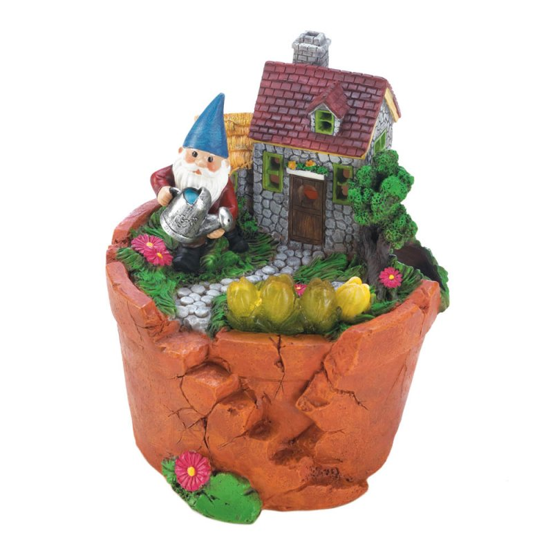 Image 0 of Garden Gnome Watering Flowers in is Solar Home on Top Terre Cotta Pot Figurine