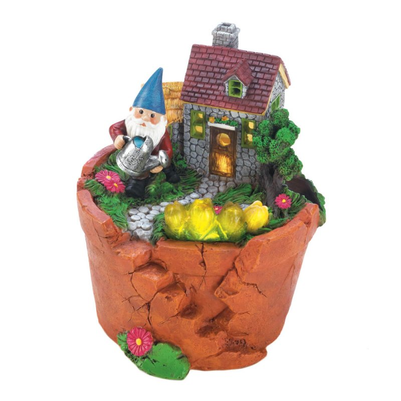 Image 1 of Garden Gnome Watering Flowers in is Solar Home on Top Terre Cotta Pot Figurine