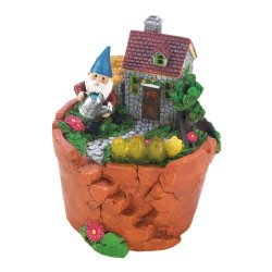 Garden Gnome Watering Flowers in is Solar Home on Top Terre Cotta Pot Figurine