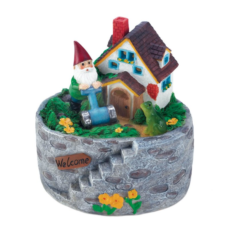 Image 0 of Garden Gnome Mowing Lawn in His Storybook Solar Home Yard, Patio Porch Figurine