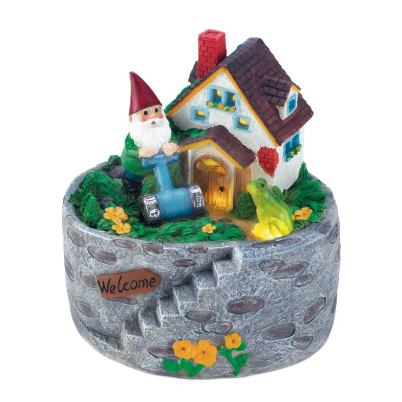 Image 1 of Garden Gnome Mowing Lawn in His Storybook Solar Home Yard, Patio Porch Figurine