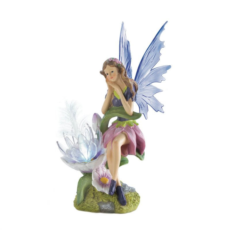 Image 1 of Solar Fairy with Flower and a Set of 2 Interchangeable Wings Garden Figurine