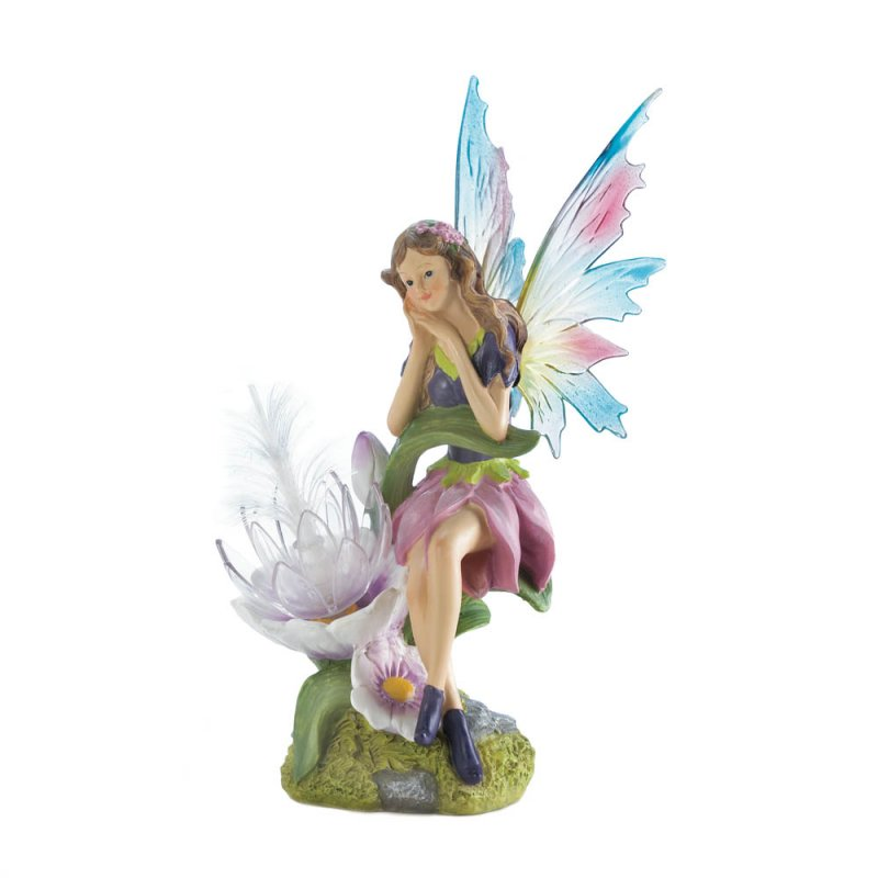 Image 2 of Solar Fairy with Flower and a Set of 2 Interchangeable Wings Garden Figurine