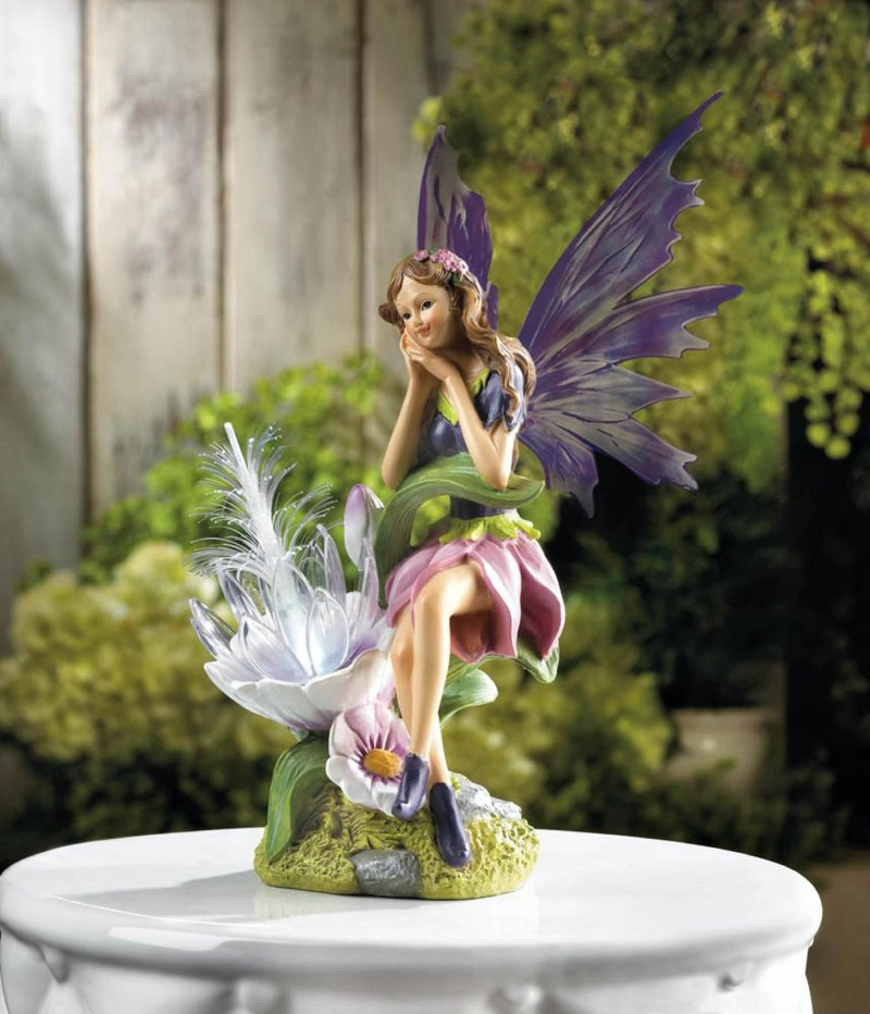 Image 0 of Solar Fairy with Flower and Wings Garden Figurine