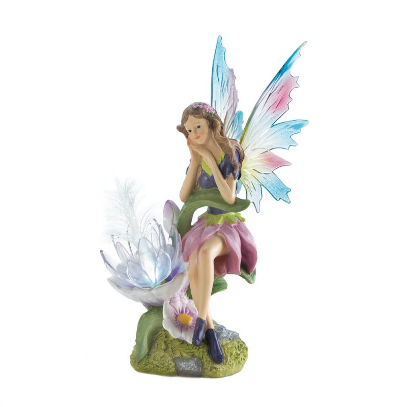 Image 3 of Solar Fairy with Flower and a Set of 2 Interchangeable Wings Garden Figurine