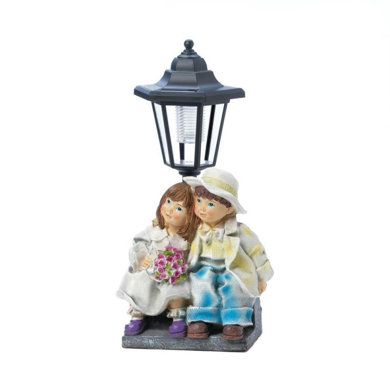 Image 1 of Couple Sitting on Bench Under a Solar Street Light Garden, Yard Pathway Figurine