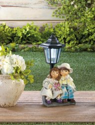 Couple Sitting on Bench Under a Solar Street Light Garden, Yard Pathway Figurine