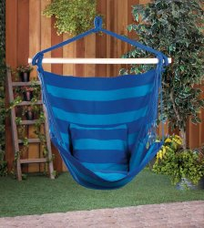 Cozy Blue Stripe Hammock Swing Chair
