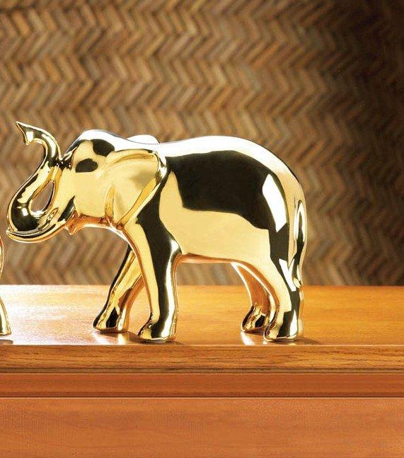 Golden Ceramic Elephant Figurine