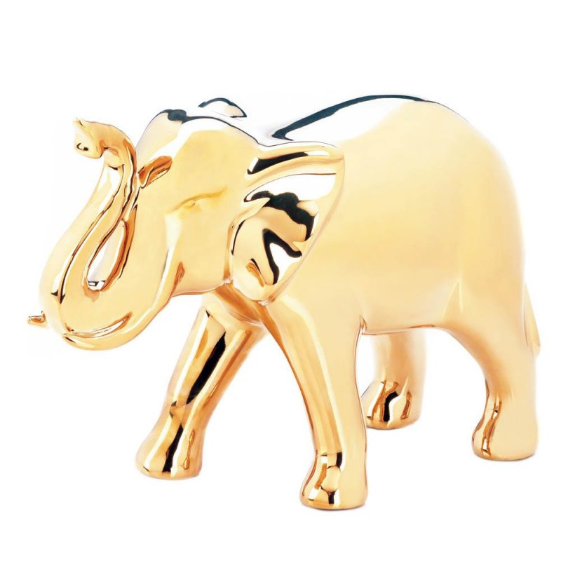 Image 1 of Ceramic Elephant Figurine with Trunk Up Large High Polished Golden Color
