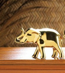 Small High Polished Golden Ceramic Elephant Figurine with Trunk Up