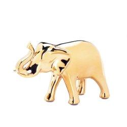 Ceramic Elephant Figurine with Trunk Up Large High Polished Golden Color