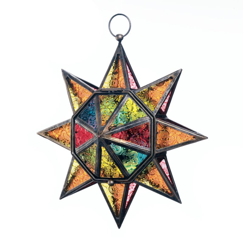 Image 1 of Colorful Multi-Faceted Moroccan Style Hanging Star Candle Lantern