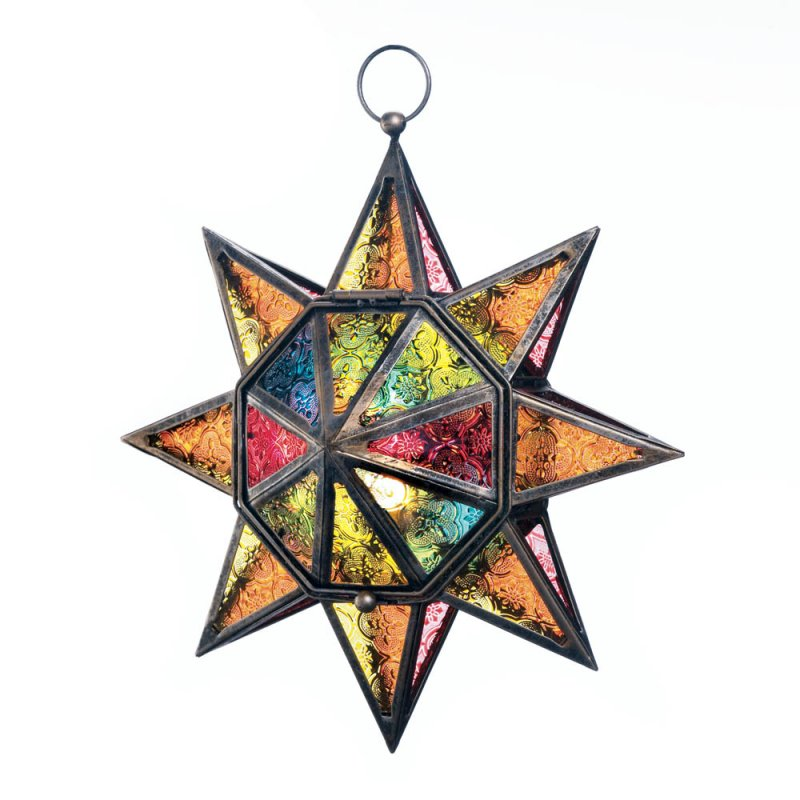 Image 2 of Colorful Multi-Faceted Moroccan Style Hanging Star Candle Lantern