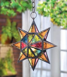 Colorful Multi-Faceted Moroccan Style Hanging Star Candle Lantern