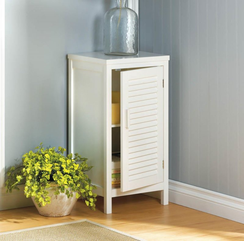 Image 0 of White Nantucket Nightstand Cabinet w/ Louver Doors and 2 Shelves Coastal Decor