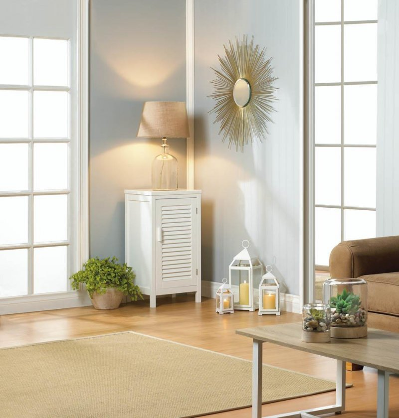 Image 1 of White Nantucket Nightstand Cabinet w/ Louver Doors and 2 Shelves Coastal Decor