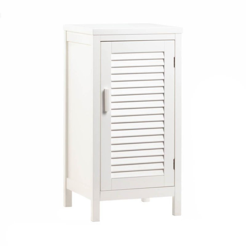 Image 2 of White Nantucket Nightstand Cabinet w/ Louver Doors and 2 Shelves Coastal Decor