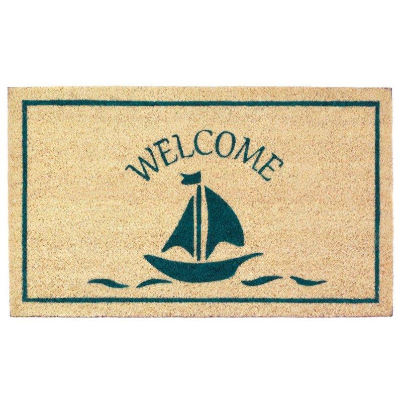 Image 0 of Sailboat Coir Welcome Door Mat Nautical Decor