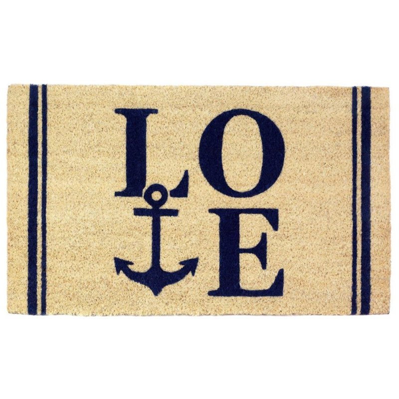 Image 0 of Coastal Love with Anchor Coir Welcome Door Mat Nautical Decor