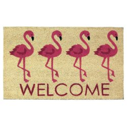 Pink Flamingos Welcome Coir Door Mat Tropical Decor