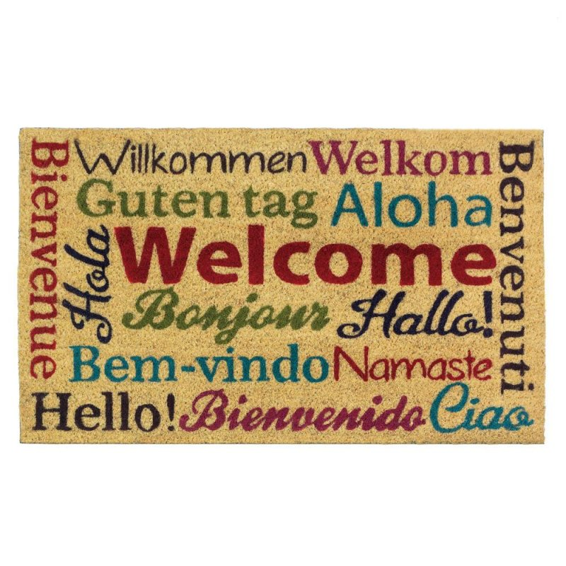 Multi-Lingual Welcome Mat Coir, PVC.