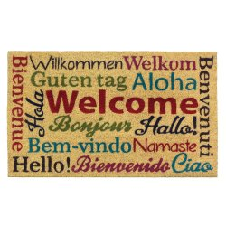 Multi-Lingual Welcome Coir Door Mat