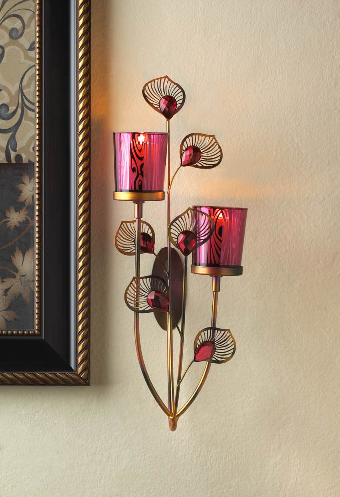 Image 0 of Pink Peacock Two Votive Candle Cups Wall Sconce With Faceted Jewels