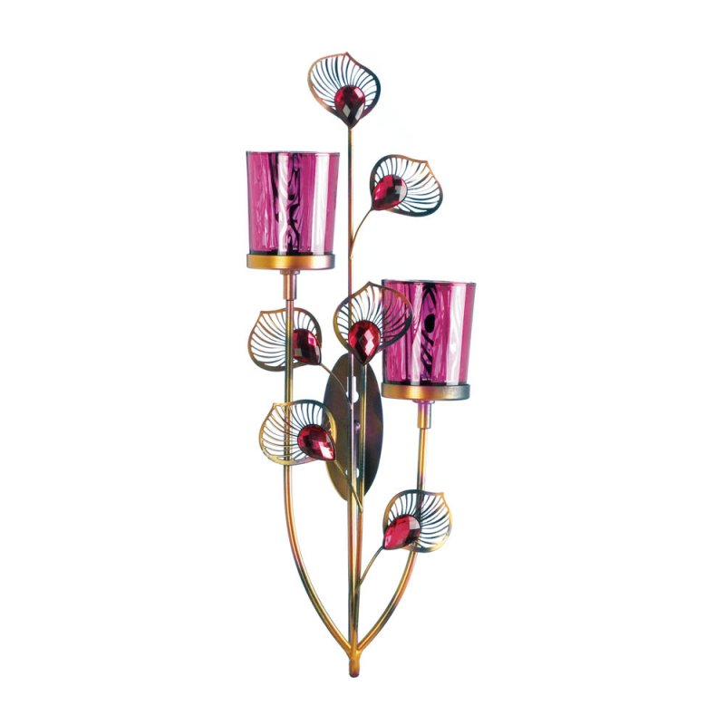 Image 1 of Pink Peacock Two Votive Candle Cups Wall Sconce With Faceted Jewels