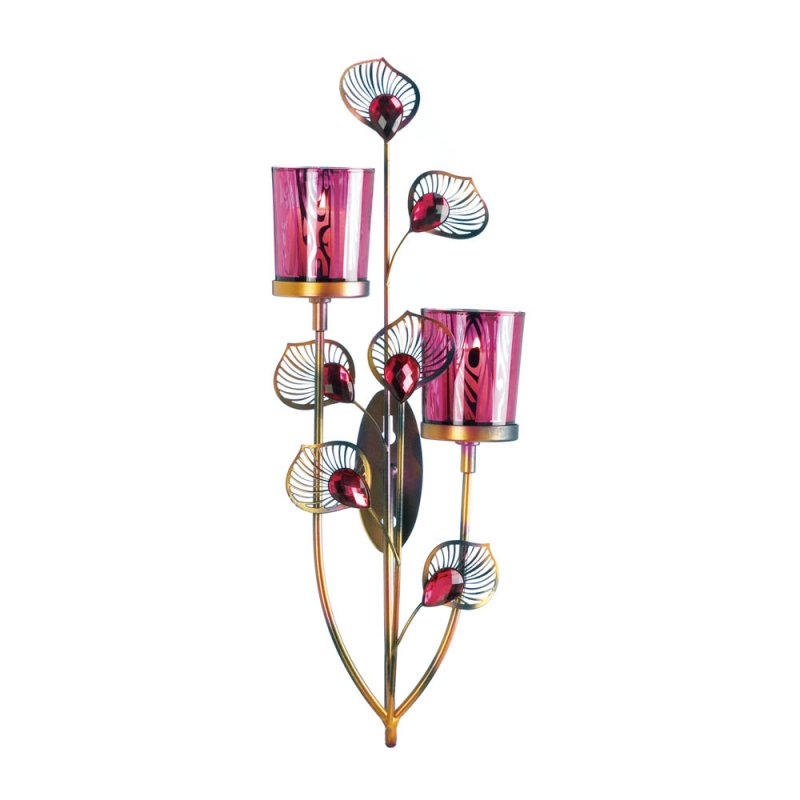 Image 2 of Pink Peacock Two Votive Candle Cups Wall Sconce With Faceted Jewels