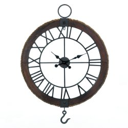 Industrial Round Wood Frame w/ Rustic Rope Wall Clock with Hook
