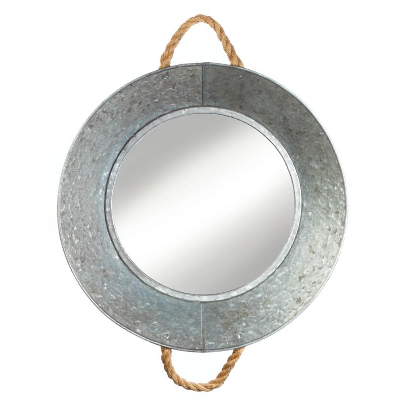Image 1 of Silver Metal Pie Pan Frame with Rope Handles Wall Mirror Country Decor