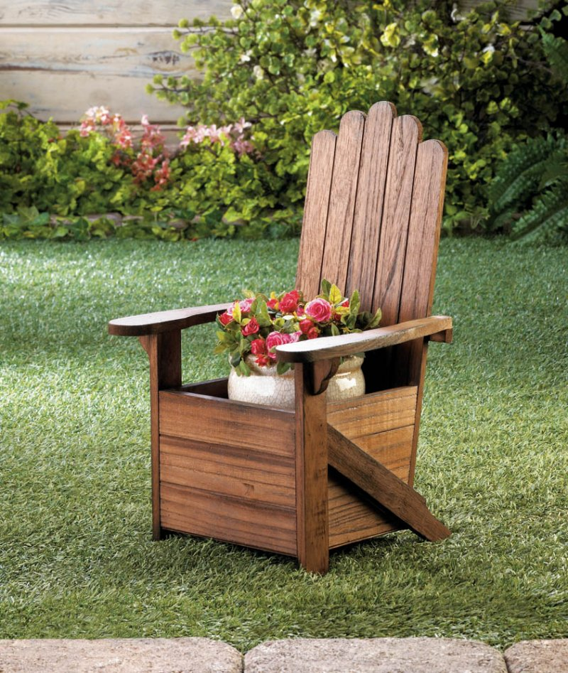 Image 0 of Wooden Adirondack Chair Potted Plant Holder for Porch, Deck, Yard or Indoors
