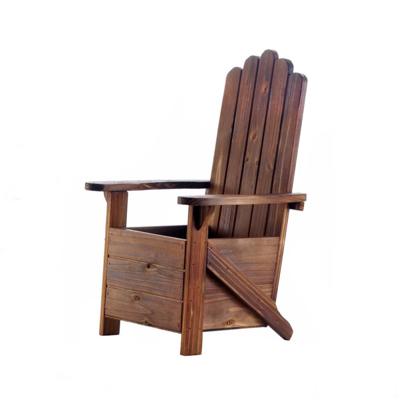 Image 1 of Wooden Adirondack Chair Potted Plant Holder for Porch, Deck, Yard or Indoors