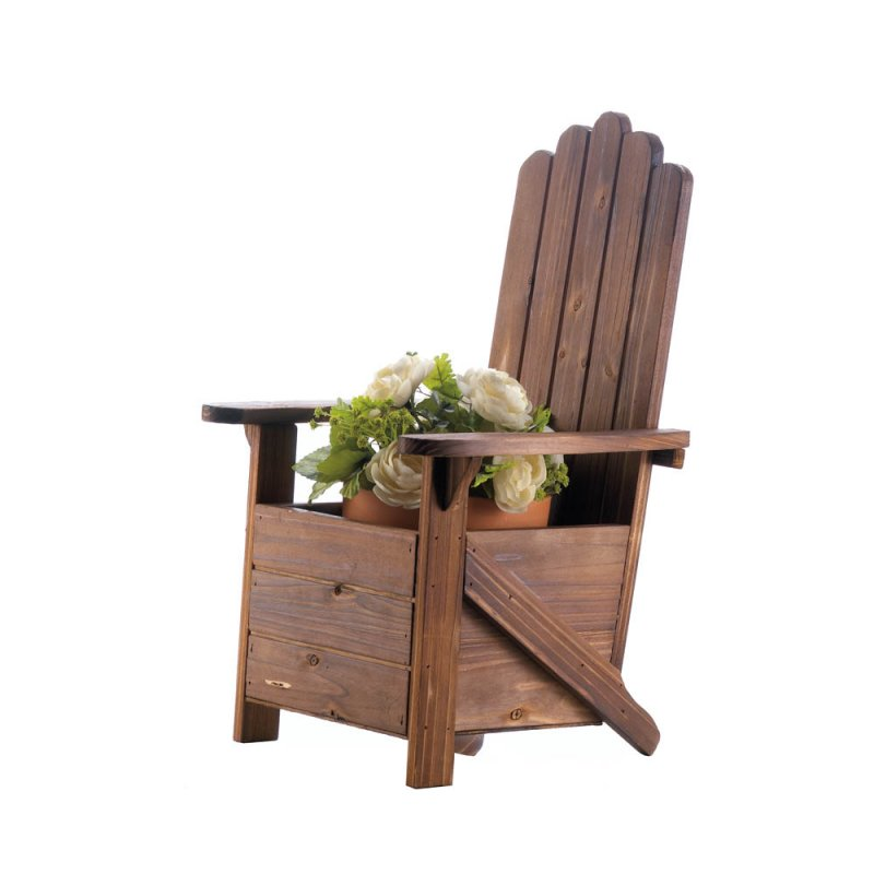 Image 2 of Wooden Adirondack Chair Potted Plant Holder for Porch, Deck, Yard or Indoors
